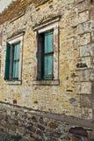 Retro- alte Gebäudeansicht der Weinlese Stockfoto