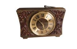 Retro- alte hölzerne Uhr auf einem weißen Hintergrund Lizenzfreie Stockbilder