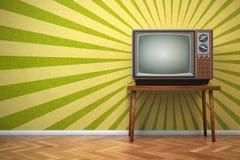 Retro- alter Fernseher auf dem Weinlesehintergrund vektor abbildung