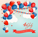 Retro american background with colorful balloons for 4th of July. In blue sky. Vector royalty free illustration