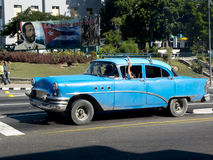 Retro american blue car in Cuba. Stock Photography