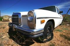 Retro american car in desert Stock Photos