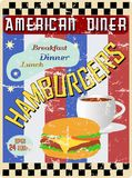 Retro american diner sign Royalty Free Stock Photos
