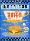 Retro american diner sign, Royalty Free Stock Photography