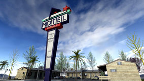 Retro american drive in motel. A 3D rendered image of a classic model drive in motel. A retro sign in front of the wooden lodge houses. A sunny blue sky with Stock Photos