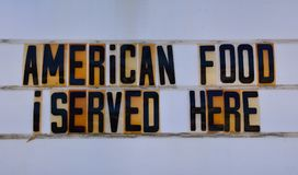 Retro american food sign on route 66. Stock Photo