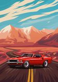 Retro american muscle car poster. Illustration with car standing on road near mountains vector illustration