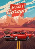 Retro american muscle car poster. Illustration with car standing on road near mountains stock illustration