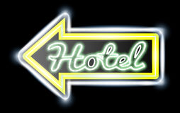 Retro American neon motel roadsign. Royalty Free Stock Image