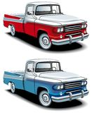 Retro american pickup. Vectorial icon set of American retro pickups, executed in two colour versions and  isolated on white backgrounds. Every pickup is in Royalty Free Stock Photo