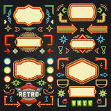 Retro American 1950s Sign Design Elements Set. Billboard Signage Light Bulbs, Frames, Arrows, Icons, Neon Lamps. For advertising, Poster Retro Sign. Vector Stock Photography