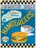 Retro Amerikaans diner teken Stock Afbeelding