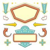 Retro- amerikanischer fünfziger Jahre Zeichen-Gestaltungselement-Satz Anschlagtafel Signage Stockfoto