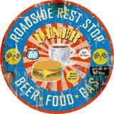 Retro- amerikanisches Restaurantzeichen, super grungy Art, Lizenzfreies Stockfoto