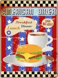 Retro amerikanskt matställetecken Royaltyfri Bild