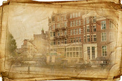 Retro amsterdam. Streets of Old Amsterdam made in retro style Stock Photography