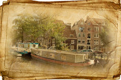 Retro amsterdam. Streets of Old Amsterdam made in retro style Royalty Free Stock Images