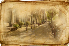 Retro amsterdam. Streets of Old Amsterdam made in retro style Royalty Free Stock Image