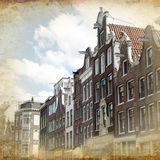 Retro amsterdam. Streets of Old Amsterdam made in retro style Stock Photo