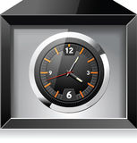 Retro analog clock in black box Stock Photos