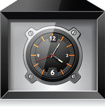 Retro analog clock in black box, detailed vector Royalty Free Stock Photography