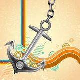 Retro Anchor. Illustration of metal anchor on abstract retro background Royalty Free Illustration
