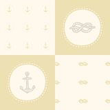 Retro anchor pattern set. Vector EPS 10 hand drawn illustration Royalty Free Stock Image