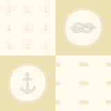 Retro anchor pattern set. Vector EPS 10 hand drawn illustration vector illustration