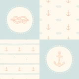 Retro anchor pattern set. Vector EPS 10 hand drawn illustration Royalty Free Stock Photography