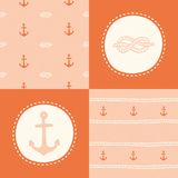 Retro anchor pattern set. Vector EPS 10 hand drawn illustration royalty free illustration