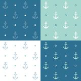 Retro anchor pattern set. Vector EPS 10 hand drawn illustration Royalty Free Stock Photo