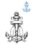 Retro anchor sketch with ribbon Stock Photos