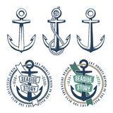 3 retro anchors with a rope royalty free illustration