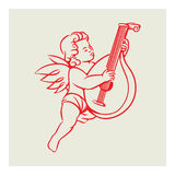 Retro Angel vector. Illustration playing lute. Hand-drawn angel vector elements in vintage style Stock Photos