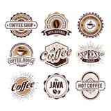 Retro- angeredete Kaffee-Embleme Stockbilder