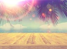 Retro- angeredetes Bild 3D einer hölzernen Plattform, die heraus zu einem tropischen schaut stock abbildung