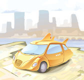 Retro--angeredetes kleines Stadtauto. Lizenzfreie Stockbilder