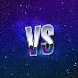 Retro- angeredetes metallisches gegen Logo GEGEN Vektor-Buchstaben auf blauem kosmischem Raum Kampf-Ikonen-Illustration vektor abbildung