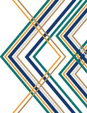Retro Angle Tangle. Colored lines form a crisscross pattern in an abstract art deco background illustration Stock Photo
