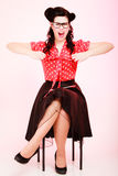 Retro. Angry pinup girl in eyeglasses screaming Royalty Free Stock Image