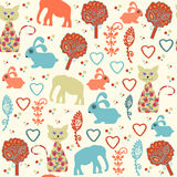 Retro animals seamless pattern and seamless pattern in swatch me. Nu, vector  illustration. Vintage colorful backdrop. Funny  pattern Royalty Free Stock Photos