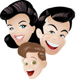 Retro animation family. Illustration of a retro family of three in closeup, including the parents and a son, isolated on a white background Royalty Free Stock Image