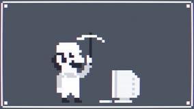 Retro animazione del ciclo di Art Game Bitcoin Mining Character del pixel Fondo di progettazione di moto del fumetto di Blockchai stock footage