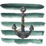 Retro- Anker des Aquarells mit Seil auf gestreiftem Hintergrund Weinleseillustration lokalisiert auf weißem Hintergrund Für Desig Stockbilder