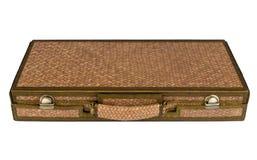 Retro annata della borsa di viaggio dello stoppino isolata su fondo bianco Immagini Stock