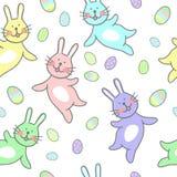 Retro annata di pasqua dell'illustrazione senza cuciture felice del modello con l'uovo di Pasqua illustrazione di stock