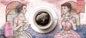 Retro annonser för kaffebönor royaltyfri illustrationer