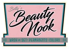 Retro annonsering för tecken för mottagningsrum för vrå för skönhetsalong vektor illustrationer