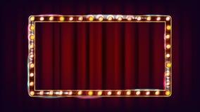 Retro- Anschlagtafel-Vektor Glänzendes helles Zeichen-Brett Realistischer Glanz-Lampen-Rahmen elektrisches glühendes Element 3D w Lizenzfreie Stockfotos