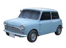 Retro antieke kleine minidiestadsauto op witte achtergrond wordt geïsoleerd Stock Foto's